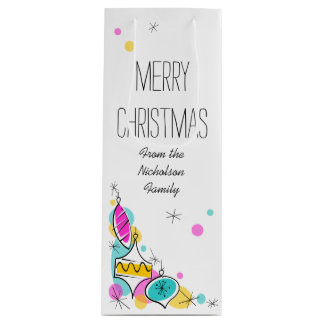 Retro Tree Baubles Corner Christmas Text wine Wine Gift Bag