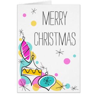 Retro Tree Baubles Corner Christmas vertical Card