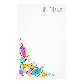 Retro Tree Baubles Corner Holidays stationery
