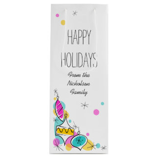 Retro Tree Baubles Corner Holidays Text wine Wine Gift Bag