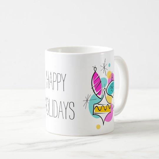 Retro Tree Baubles Group Holidays Christmas mug