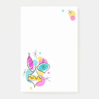Retro Tree Baubles Group post-it notes vertical
