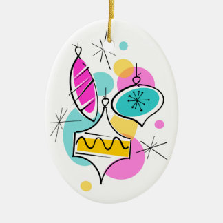Retro Tree Baubles Group text ornament oval