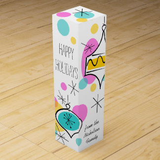Retro Tree Baubles Happy Holidays Text wine box