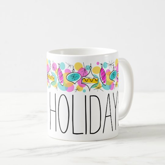 Retro Tree Baubles Line Holidays mug