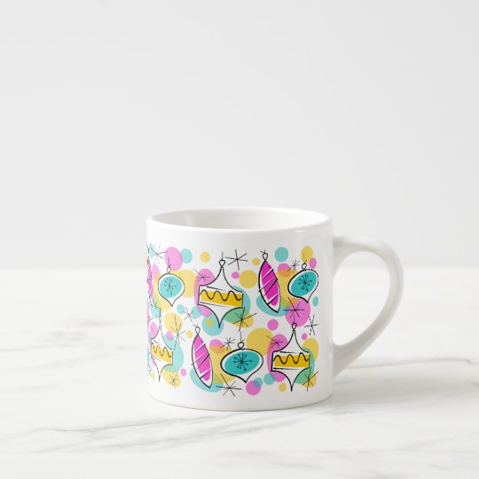 Retro Tree Baubles Multi mug espresso