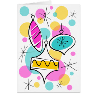 Retro Tree Baubles text greetings card vertical