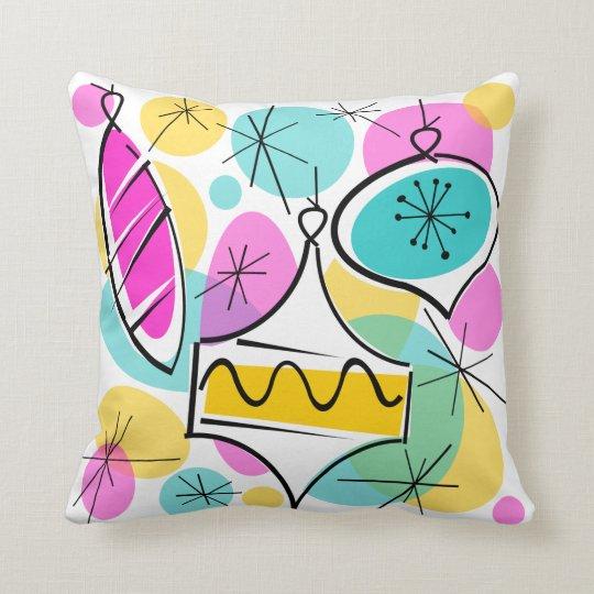Retro Tree Baubles throw pillow square