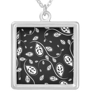 Retro Tree Leaf  Black and White Necklace