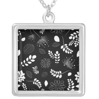 Retro Tree Leaf Black and White Personalized Necklace