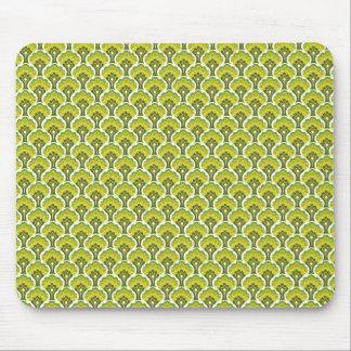 retro tree pattern - green mouse pad