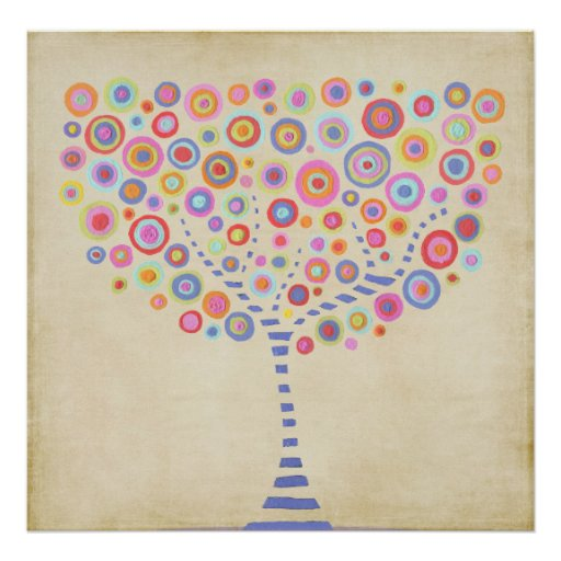 Retro Tree Personalised Name Room Wall Poster