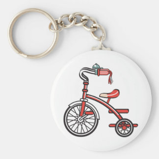 retro tricycle basic round button key ring