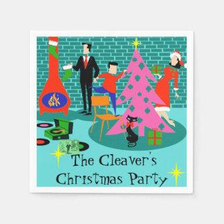 Retro Trimming the Christmas Tree Paper Napkins Paper Napkin