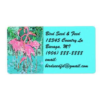 Retro Tropical Abst Pink Flamingos Flamingo Labels