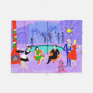 Retro Tropical Christmas Party Fleece Blanket