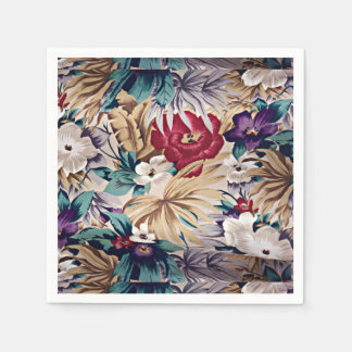 Retro Tropical Flower Pattern Disposable Serviette