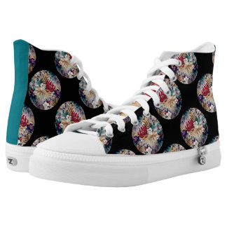Retro Tropical Flower Pattern High Tops