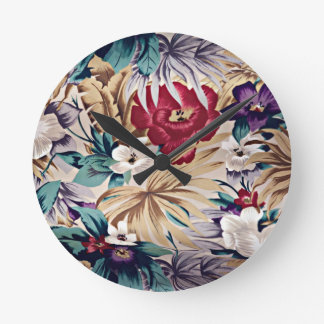 Retro Tropical Flower Pattern Round Clock