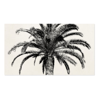 Retro Tropical Island Palm Tree in Black and White Business Cards