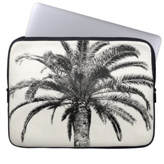 Retro Tropical Island Palm Tree in Black and White Computer Sleeve