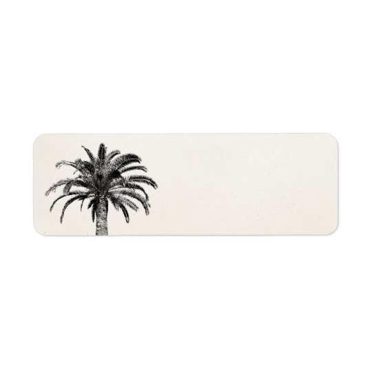 Retro Tropical Island Palm Tree in Black and White Return Address Label