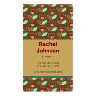 Retro Tulips Custom Photo Mom Calling Profile Card Business Card Template