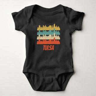 Retro Tulsa OK Skyline Pop Art Baby Bodysuit