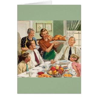 Retro Turkey Dinner Thanksgiving Greeting Card