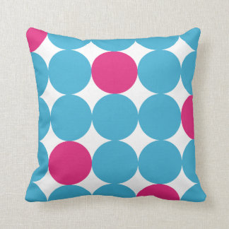 Retro Turquoise and Pink Circle Pattern Throw Cushions