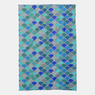 Retro Turquoise Blue Teal Gray Scales Pattern Tea Towel
