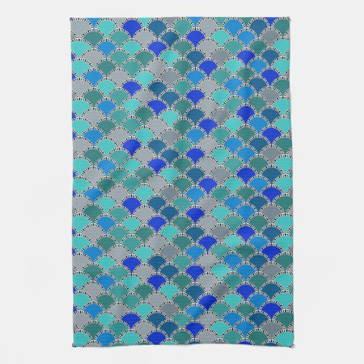Retro Turquoise Blue Teal Gray Scales Pattern Towels