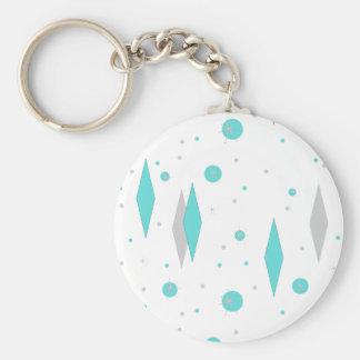 Retro Turquoise Diamond  Starburst Button Keychain