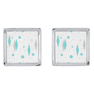 Retro Turquoise Diamond & Starburst Cufflinks Silver Finish Cuff Links