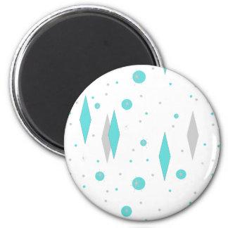 Retro Turquoise Diamond & Starburst Magnet