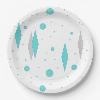 Retro Turquoise Diamond & Starburst Paper Plates