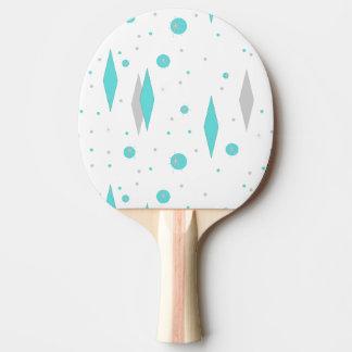 Retro Turquoise Diamond & Starburst Ping Pong Padd Ping Pong Paddle