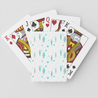 Retro Turquoise Diamond & Starburst Playing Cards