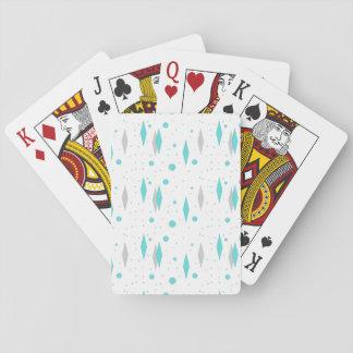Retro Turquoise Diamond & Starburst Playing Cards