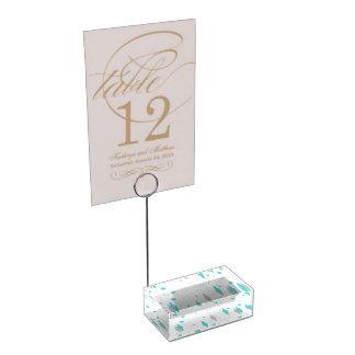 Retro Turquoise Diamond Starburst Table Card Holde Table Card Holder