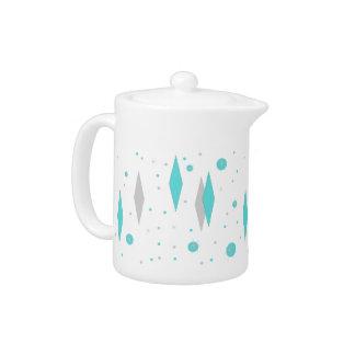 Retro Turquoise Diamond  & Starburst Teapot