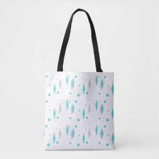 Retro Turquoise Diamond & Starburst Tote Bag