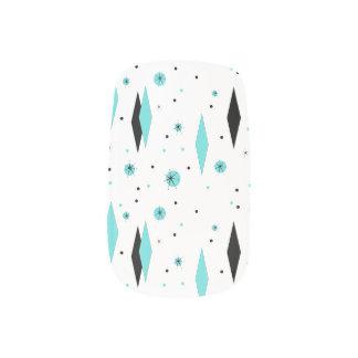 Retro Turquoise Diamonds Minx Nail Art Decals