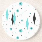 Retro Turquoise Diamonds & Starburst Stone Coaster