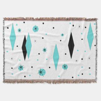 Retro Turquoise Diamonds & Starburst Throw Blanket