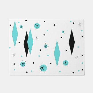 Retro Turquoise Diamonds & Starbursts Door Mat