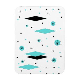 Retro Turquoise Diamonds & Starbursts Flexi Magnet
