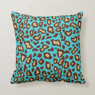 Retro Turquoise Leopard Print Throw Pillow Decor