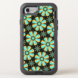 retro turquoise orange floral OtterBox defender iPhone 8/7 case
