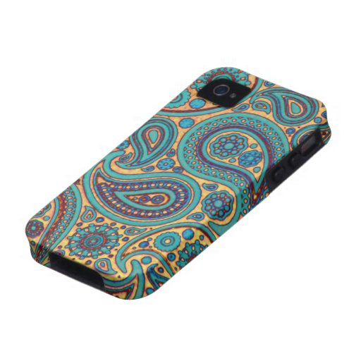 Retro Turquoise Paisley Case-Mate iPhone 4 Cover